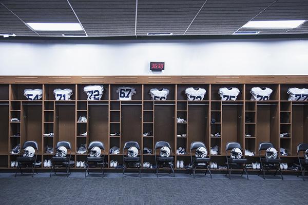 football locker room with equipment