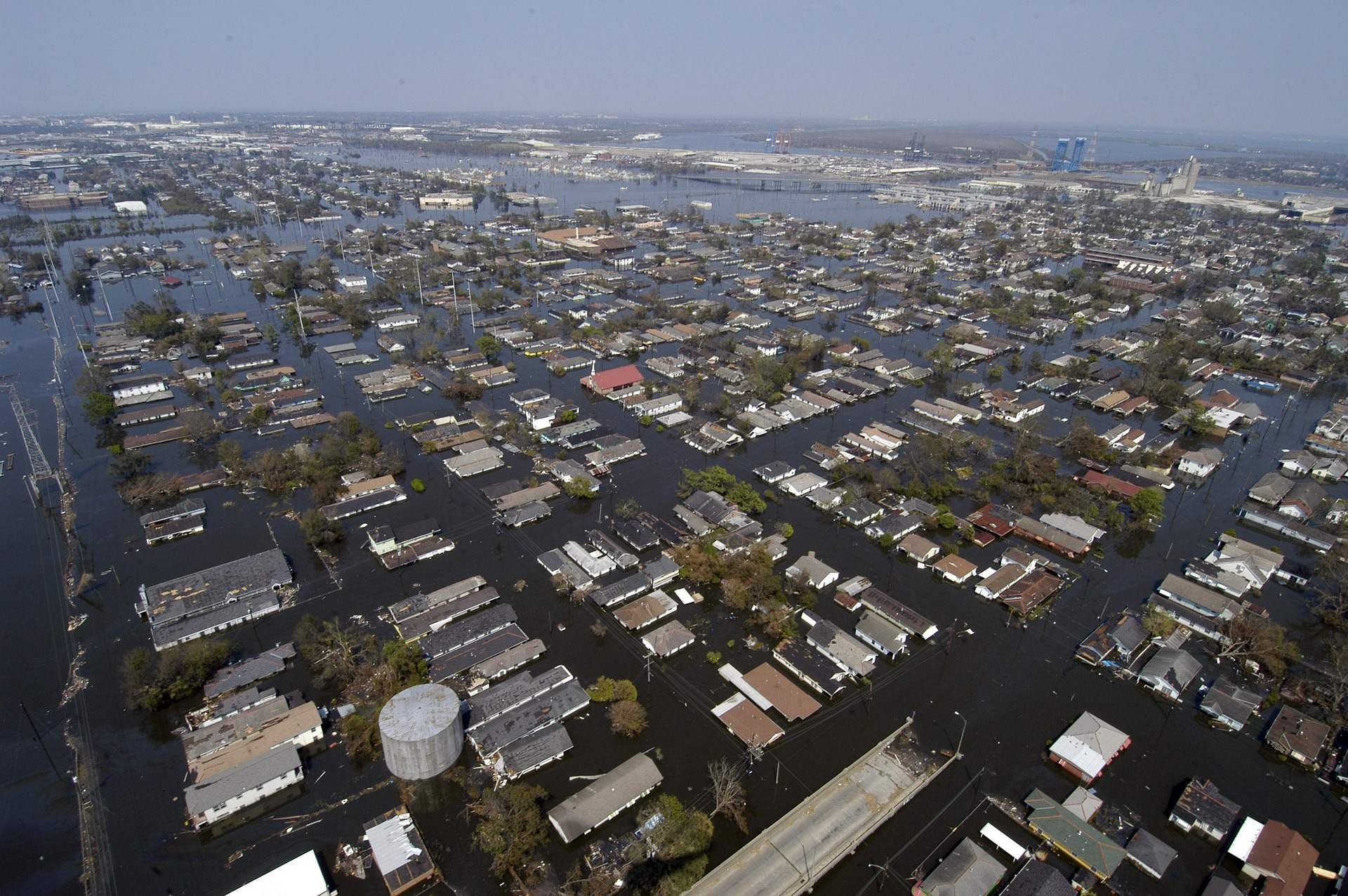 New Orleans flooded homes aerial view