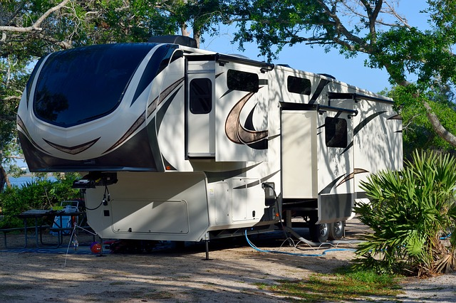 recreational vehicle parked at campsite